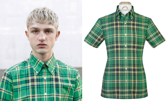 Brutus green tartan Trimfit shirt is new for spring 2012