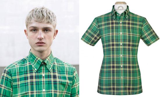 Brutus green tartan Trimfit shirt