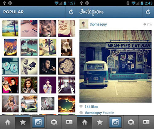 Instagram for Android smartphone