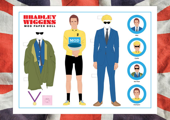 Bradley Wiggins Mod Paper Dolls by Piper Gates Design