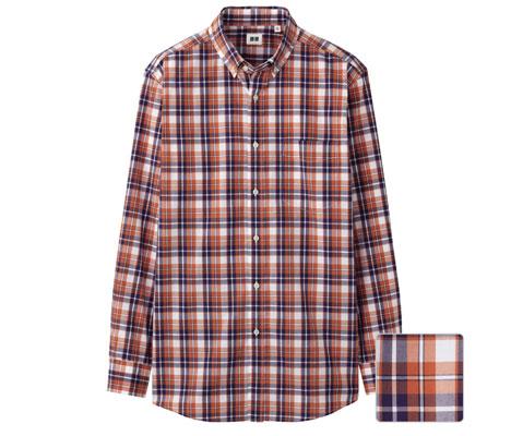 Uniqlo extra-fine cotton button-down check shirts