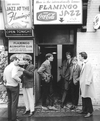 Mods showing Andy Summers and members of the band Zoot Money, outside the Flamingo Club, London 1964 - JEREMY FLETCHER/REDFERN'S/GETTY IMAGES