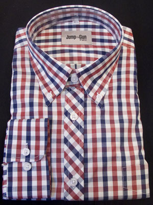 1960s-style gingham button-down shirts at Jump The Gun