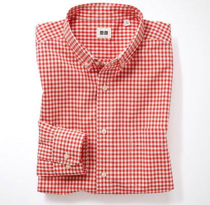 On sale: Uniqlo gingham button down shirts