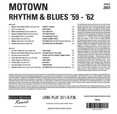 Motown Rhythm & Blues '59-'62 limited edition vinyl album on Vee-Tone