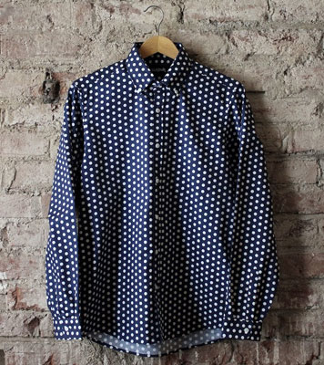 TukTuk navy polka dot button-down shirt