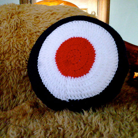 Handmade target cushion at Etsy