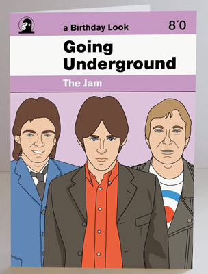 The Jam limited edition Going Underground poster and birthday card by Piper Gates Design