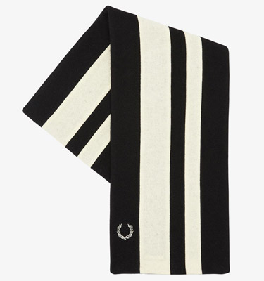Winter warmers: Fred Perry x Hilltop stripe college scarves