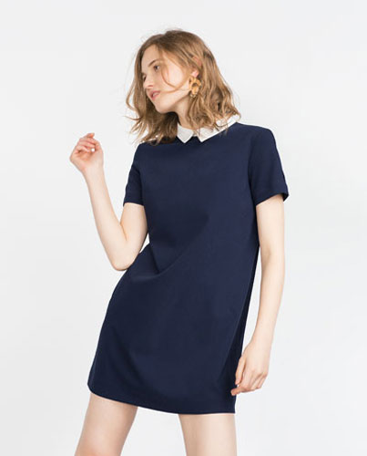4. Mini dress with contrasting collar from Zara