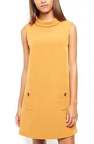 8. Mustard Roll Neck Sleeveless Shift Dress at New Look