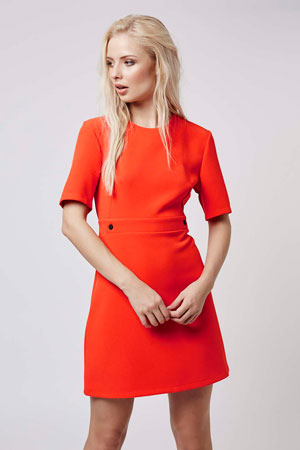 1960s-inspired popper shift dress at Topshop