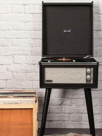 UO X Dansette record player with legs returns in a new monochrome finish