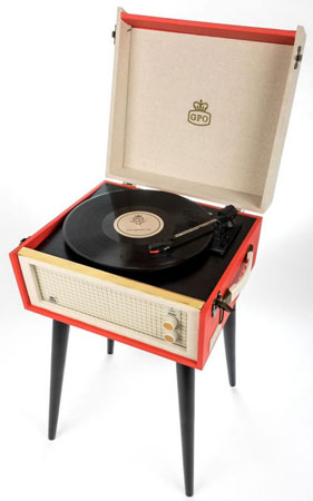 Dansette-style GPO Retro Bermuda record player with legs