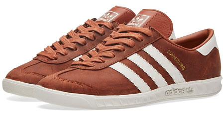 Adidas Hamburg trainers reissued in black and redwood leather finishes