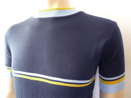 Vintage-style striped crew neck knit at Jump The Gun