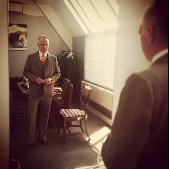 Mr Davis, one of the Savile Row customers trying the soft tailored 1930s cut full bespoke 3-piece in city tweed.