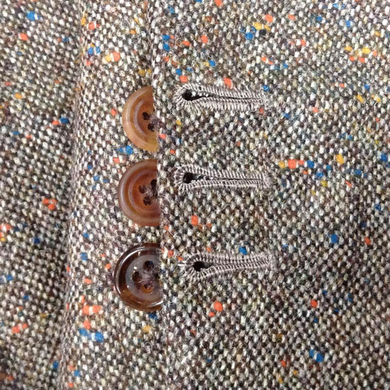 Handmade buttonholes at cuff with graduating shades of real horn.