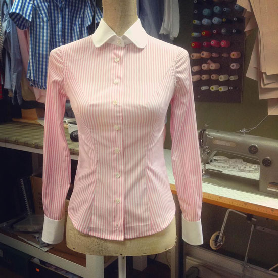 Bespoke ladies shirt, in candy pink/white poplin stripe.