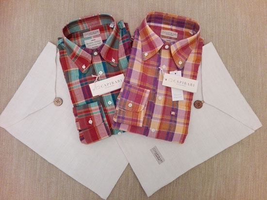 Vintage-style Flamingo button down madras shirts by Capirari
