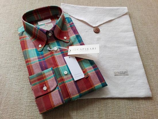Vintage-style Flamingo button down madras shirts by Capirari