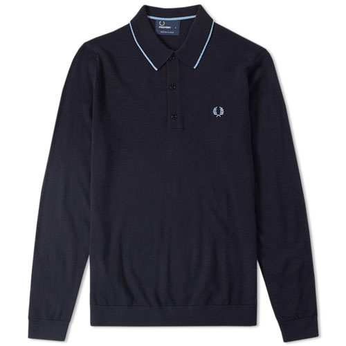 Fred Perry long sleeve fine merino knitted polo shirt