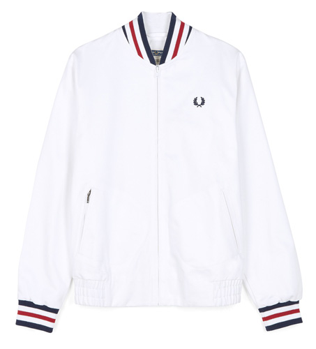 Fred Perry Reissues Made in England original tennis bomber jacket in white
