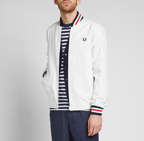 Fred Perry Reissues Original Tennis Bomber Jacket back in white