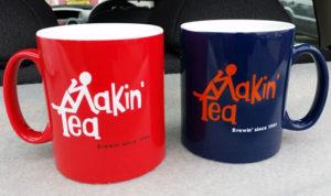 Limited edition Fay Hallam-designed Makin' Time / Makin' Tea mugs
