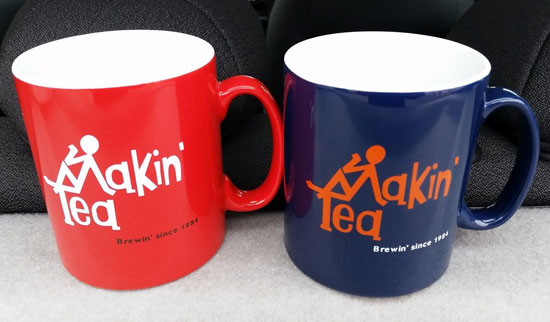 Limited edition Fay Hallam-designed Makin' Time / Makin' Tea mugs