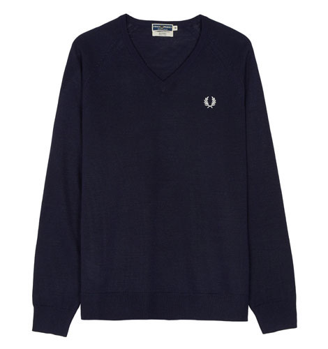 Fred Perry v-neck sweater returns in 1970s school colours
