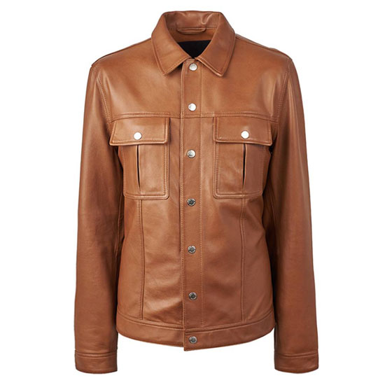 1960s-style button up leather jacket by Pretty Green