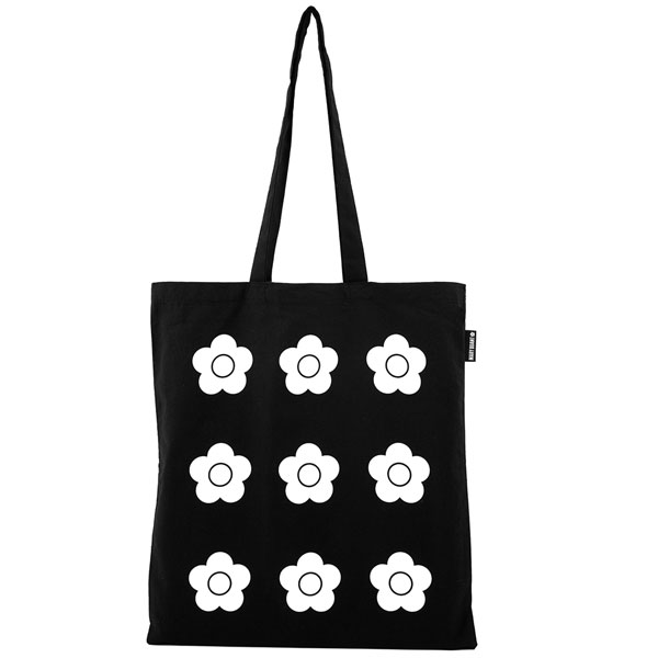 Mary Quant black tote bag at the V&A