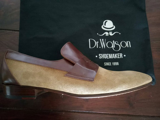 1960s-style penny loafers by Dr Watson Shoemaker