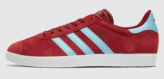 Adidas Gazelle trainers in claret and blue