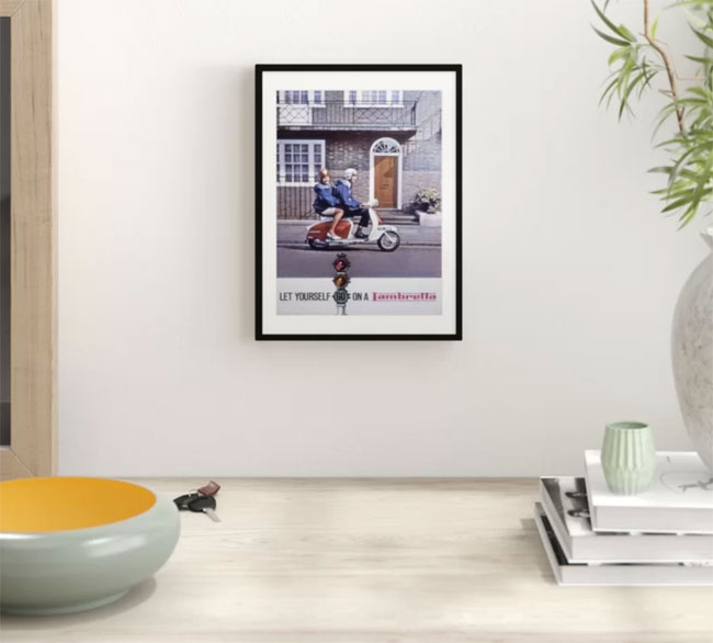 1965 framed Lambretta advertising print