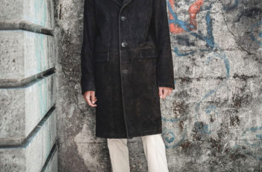 Ace Suede Coat by Connection Knitwear